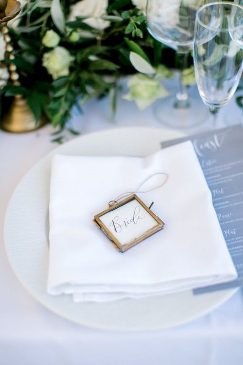 Miniture Brass Frame Name Place Settings