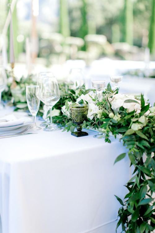 White Flower and Foliage Table Runner Centrepiece