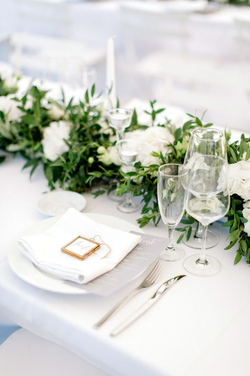 Place Setting with Miniature Frame Name Place Setting and Floral Table Runner