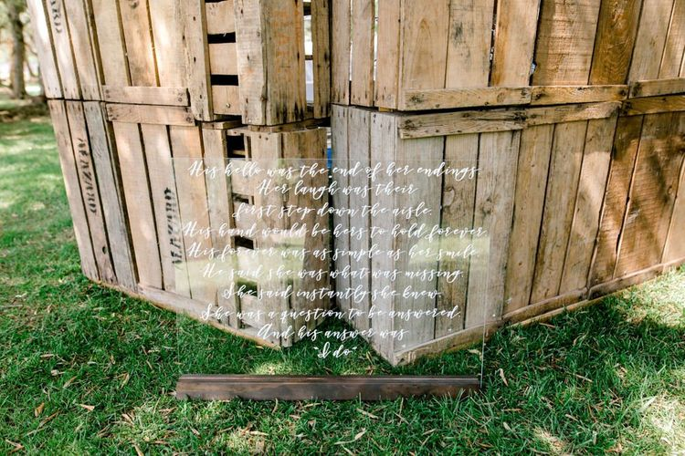 Calligraphy Acrylic Wedding Welcome Sign