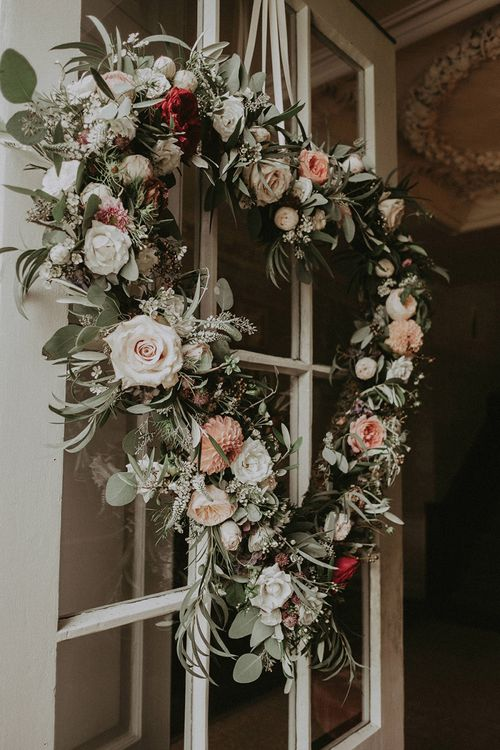 Heart-Shaped Door Wreath with Roses, Eucalyptus, Wild Flowers and Greenery
