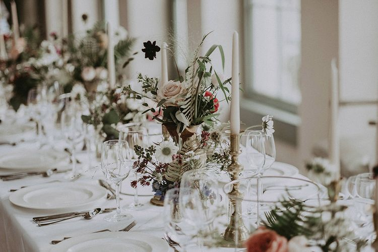 Elegant Tablescapes with Flowers and Tapered Candles