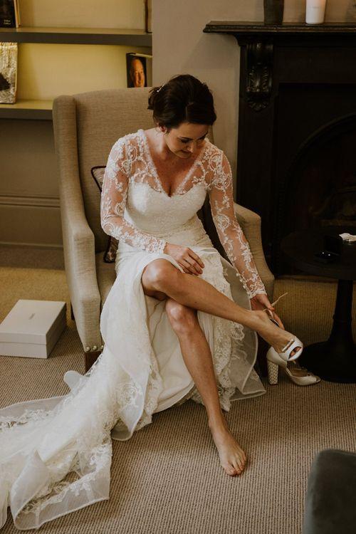 Wedding Morning Bridal Preparations | Bride in Annasul Y Violet Bridal Gown & I Am Florence Block Heel Shoes | Rustic Cripps Barn Winter Wedding | Alexandra Jane Photography
