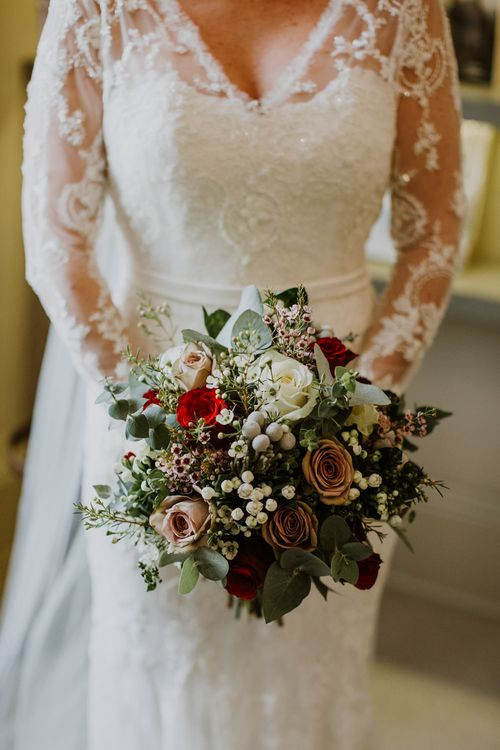 Winter Wedding Bouqet with White & Red Flowers & Foliage | Rustic Cripps Barn Winter Wedding | Alexandra Jane Photography