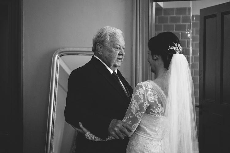 Father of The Bride First Look | Bride in Annasul Y Violet Wedding Dress | Rustic Cripps Barn Winter Wedding | Alexandra Jane Photography