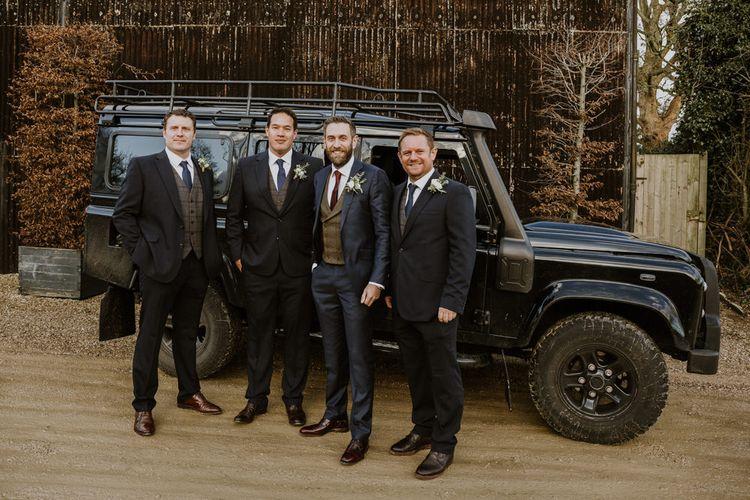 Groomsmen | Groom in Suit Supply Suit | Rustic Cripps Barn Winter Wedding | Alexandra Jane Photography