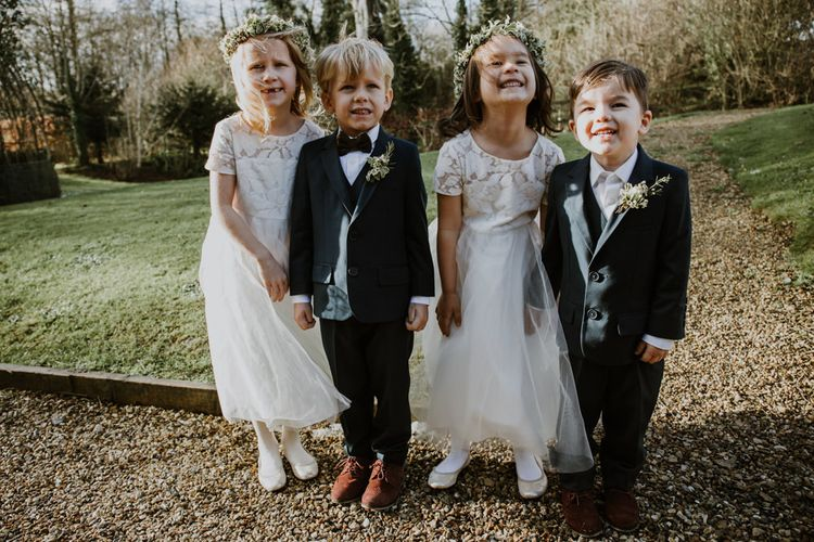 Flower Girls in BHLDN Dresses | Page Boys in  Marks and Spencer Suits | Rustic Cripps Barn Winter Wedding | Alexandra Jane Photography