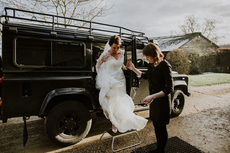 Bridal Entrance in Annasul Y Violet Wedding Dress | Rustic Cripps Barn Winter Wedding | Alexandra Jane Photography
