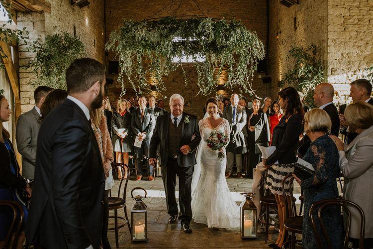 Wedding Ceremony | Bridal Entrance in Annasul Y Violet Bridal Gown | Rustic Cripps Barn Winter Wedding | Alexandra Jane Photography