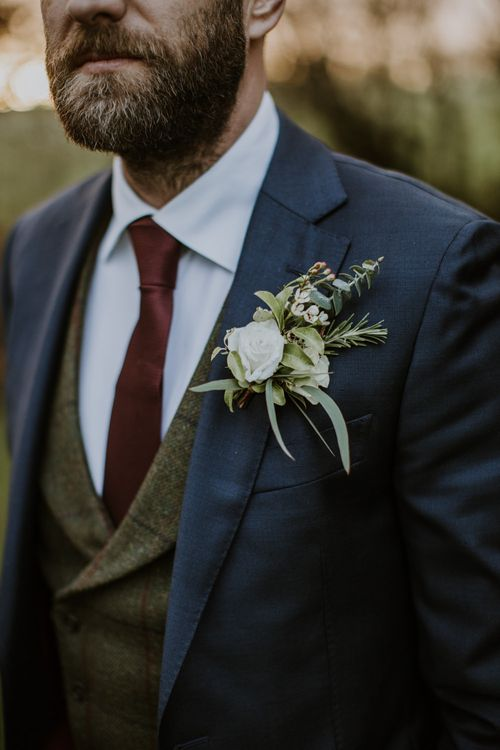 White Rose Buttonhole | Groom in Suit Supply | Rustic Cripps Barn Winter Wedding | Alexandra Jane Photography