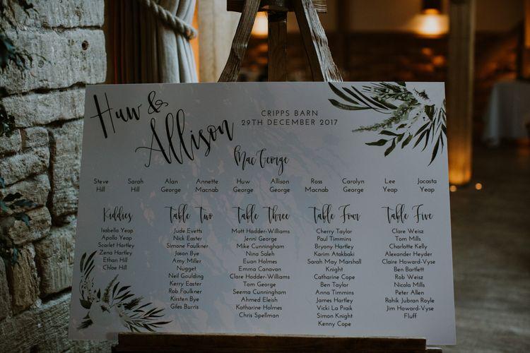Wonderland invites Table Plan | Rustic Cripps Barn Winter Wedding | Alexandra Jane Photography