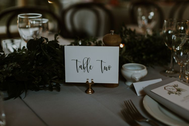 Table Number Wedding Stationery | Rustic Cripps Barn Winter Wedding | Alexandra Jane Photography