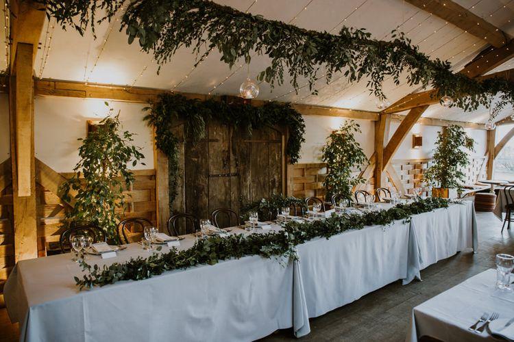 Top Table Wedding Decor | Greenery Garland | Rustic Cripps Barn Winter Wedding | Alexandra Jane Photography