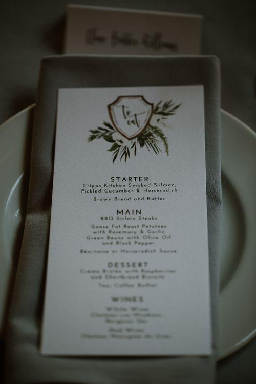 Wonderland Invites Menu Card | Rustic Cripps Barn Winter Wedding | Alexandra Jane Photography