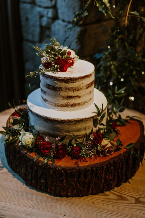 Semi Naked Wedding Cake on Tree Stump Cake Stand | Rustic Cripps Barn Winter Wedding | Alexandra Jane Photography