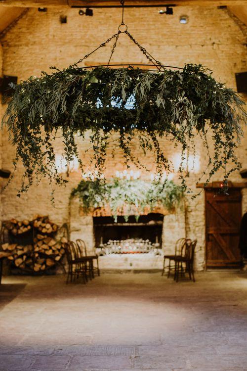 Hangin Foliage Installation by Go Wild Flowers | Rustic Cripps Barn Winter Wedding | Alexandra Jane Photography