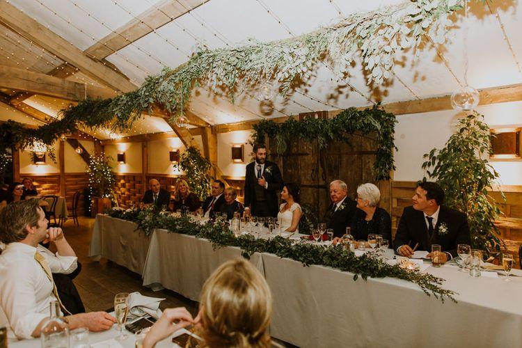 Wedding Reception Speeches | Rustic Cripps Barn Winter Wedding | Alexandra Jane Photography