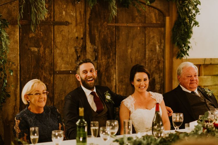 Wedding Reception Speeches | Groom in Suit Supply | Bride in Annasul Y Violet Gown | Rustic Cripps Barn Winter Wedding | Alexandra Jane Photography