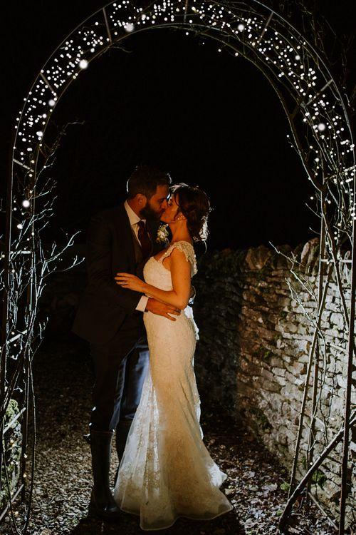 Bride in Annasul Y Violet Bridal Gown | Groom in Suit Supply Suit | Rustic Cripps Barn Winter Wedding | Alexandra Jane Photography
