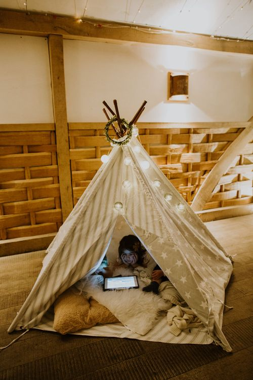 Tipi Kids Corner | Rustic Cripps Barn Winter Wedding | Alexandra Jane Photography