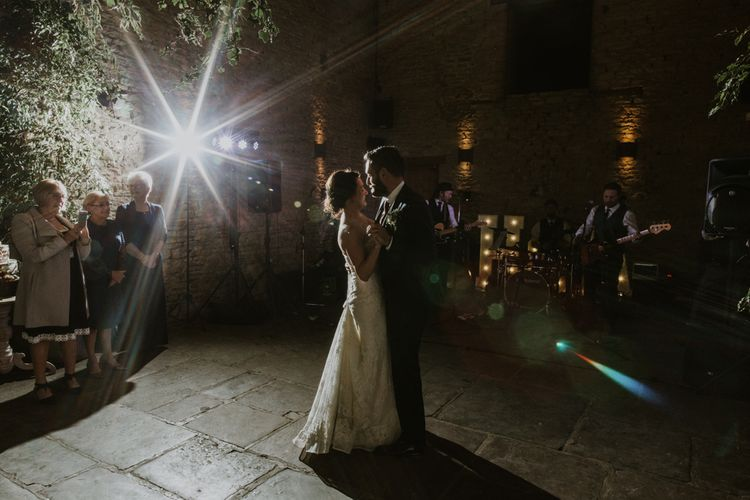 First Dance | Bride in Annasul Y Violet Bridal Gown | Groom in Suit Supply | Rustic Cripps Barn Winter Wedding | Alexandra Jane Photography