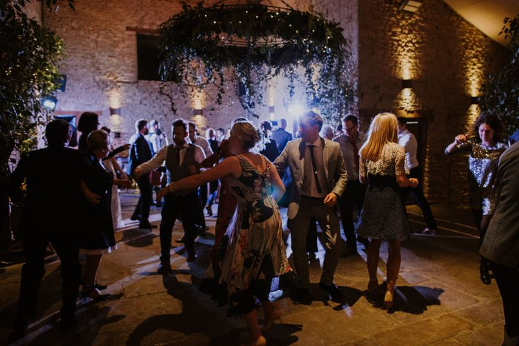 Ceilidh Evening Reception Wedding Entertainment | Rustic Cripps Barn Winter Wedding | Alexandra Jane Photography