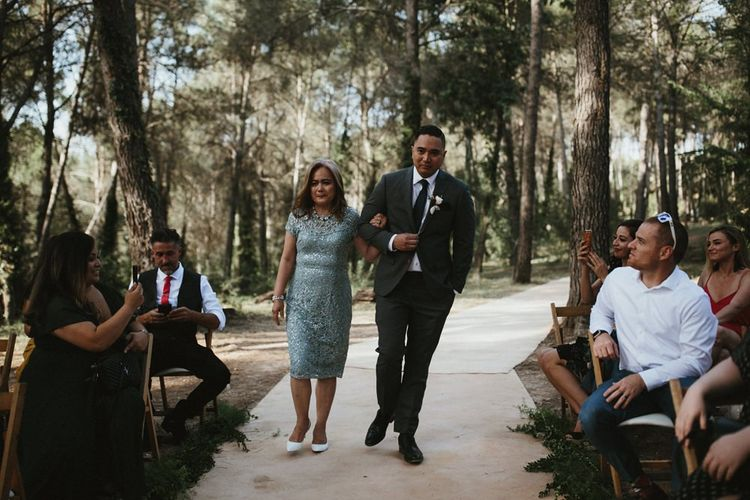 Groom enters wedding ceremony in Spain