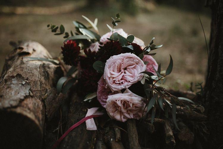 Pink wedding bouquet for Spanish wedding with Jenny Yoo wedding dress