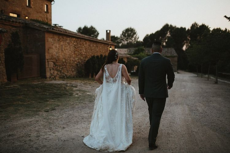 Low back Jenny Yoo wedding dress with Watteau train