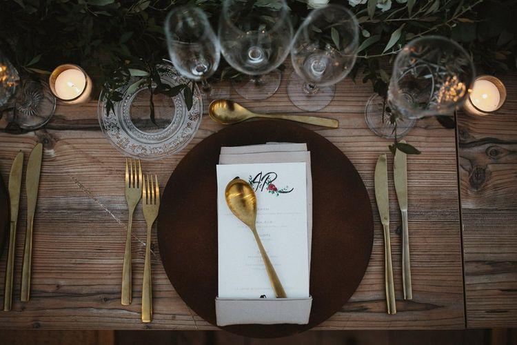 Gold cutlery for wedding in Spain