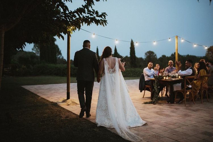 Jenny Yoo wedding dress with Watteau train