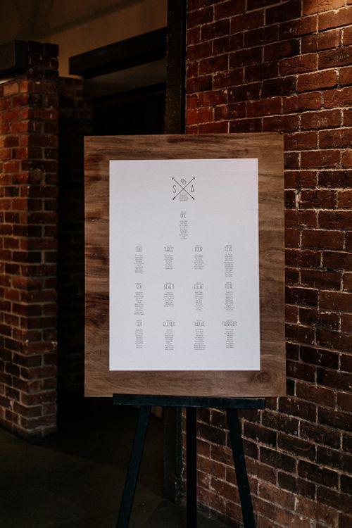 Minimalist table plan on wooden back board