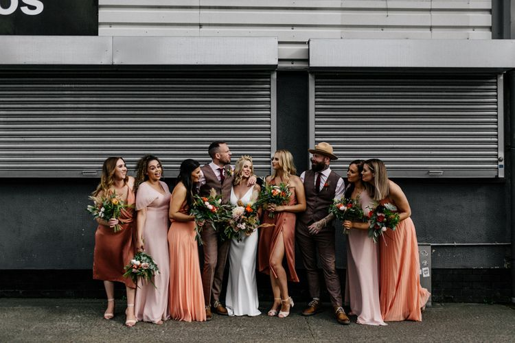 Stylish wedding party portrait