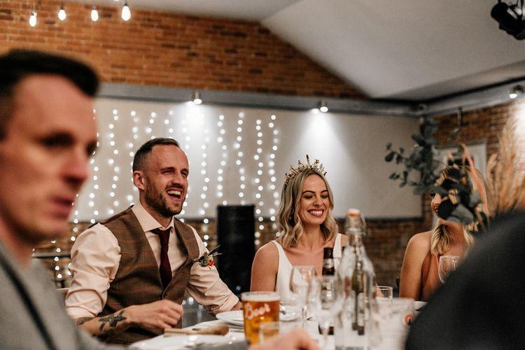 Fairy light wedding decor at industrial wedding reception