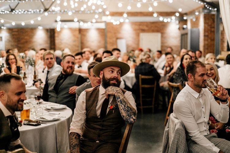 Wedding guests at industrial wedding reception in Leeds