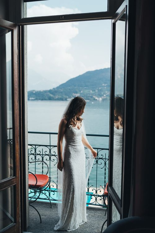 Bride in Grace Loves Lace Wedding Dress on Wedding Morning