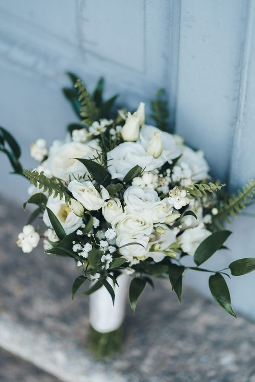 All White Wedding Flower Bouquet with Green Foliage
