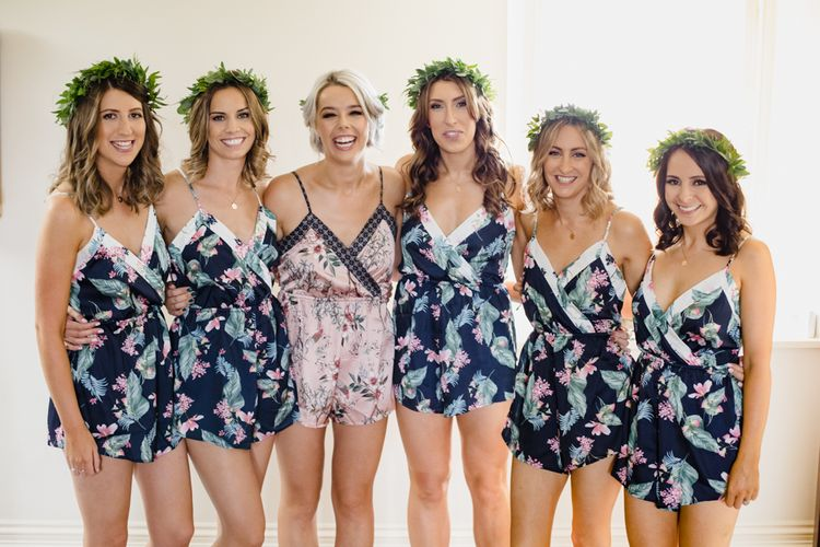 Bride & Bridesmaids In Floral PJs // Dewsall Court Wedding With Bride In Fishtail Gown 'Adele' By Augusta Jones With Images From Chris Barber Photography And Film From Blooming Lovely Films