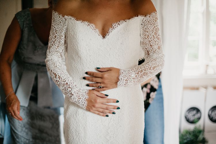 Bride With Forest Green Nail Varnish // Dewsall Court Wedding With Bride In Fishtail Gown 'Adele' By Augusta Jones With Images From Chris Barber Photography And Film From Blooming Lovely Films