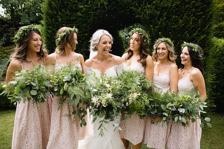 Bridesmaids In Short Pink Dessy Dresses // Dewsall Court Wedding With Bride In Fishtail Gown 'Adele' By Augusta Jones With Images From Chris Barber Photography And Film From Blooming Lovely Films