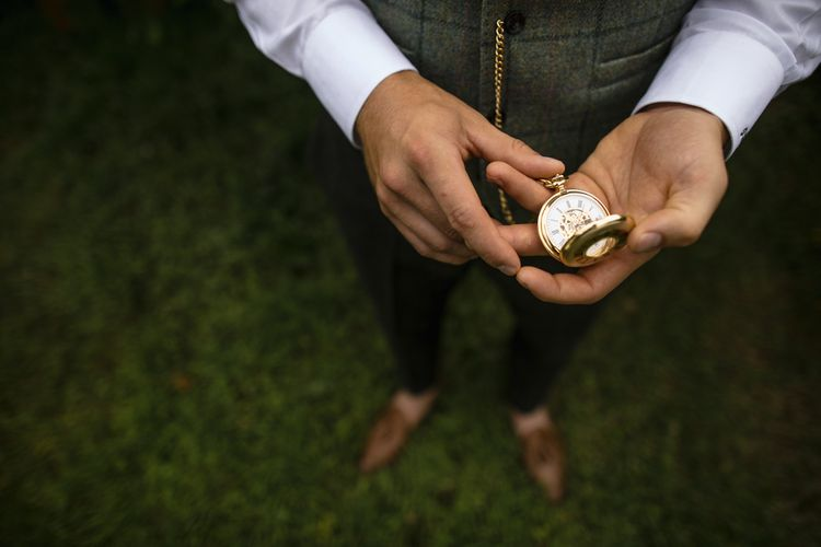 Pocket Watch For Groom // Dewsall Court Wedding With Bride In Fishtail Gown 'Adele' By Augusta Jones With Images From Chris Barber Photography And Film From Blooming Lovely Films