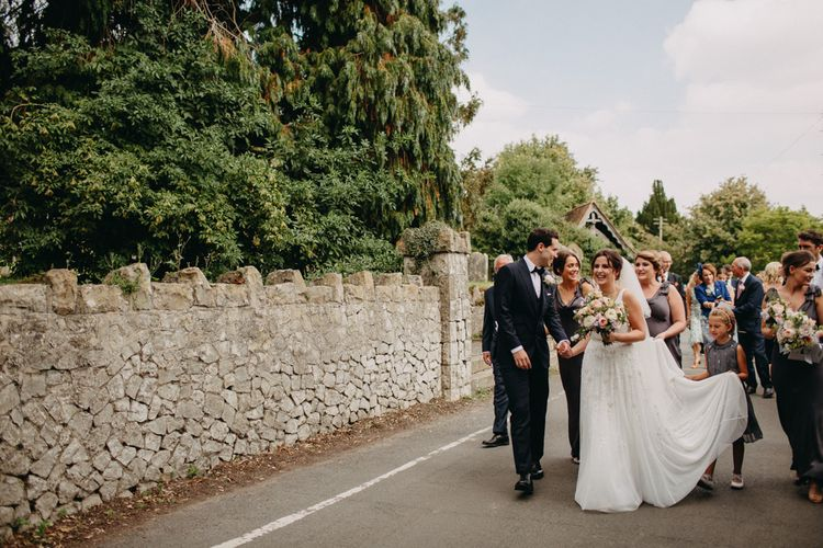 Church Wedding Ceremony | Bride in Karen Willis Holmes | Groom in Custom Made Suit by Suit Supply | Summer Wedding at Family Home in Kent | Glass Marquee from Academy Marquees | Frances Sales Photography