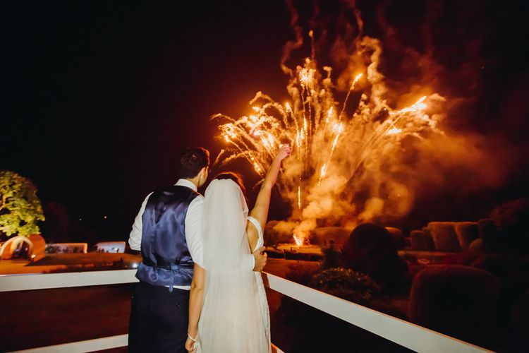 Firework Finale | Bride in Karen Willis Holmes | Groom in Custom Made Suit by Suit Supply | Summer Wedding at Family Home in Kent | Glass Marquee from Academy Marquees | Frances Sales Photography