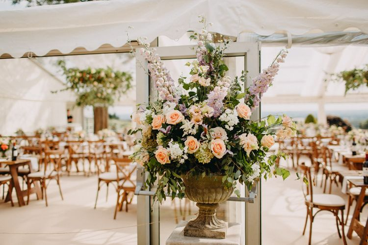 Flowers from Topiary Tree | Bride in Karen Willis Holmes | Groom in Custom Made Suit by Suit Supply | Summer Wedding at Family Home in Kent | Glass Marquee from Academy Marquees | Frances Sales Photography