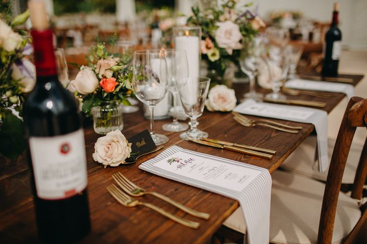 Hand Stitched Linen Napkins | Bride in Karen Willis Holmes | Groom in Custom Made Suit by Suit Supply | Summer Wedding at Family Home in Kent | Glass Marquee from Academy Marquees | Frances Sales Photography
