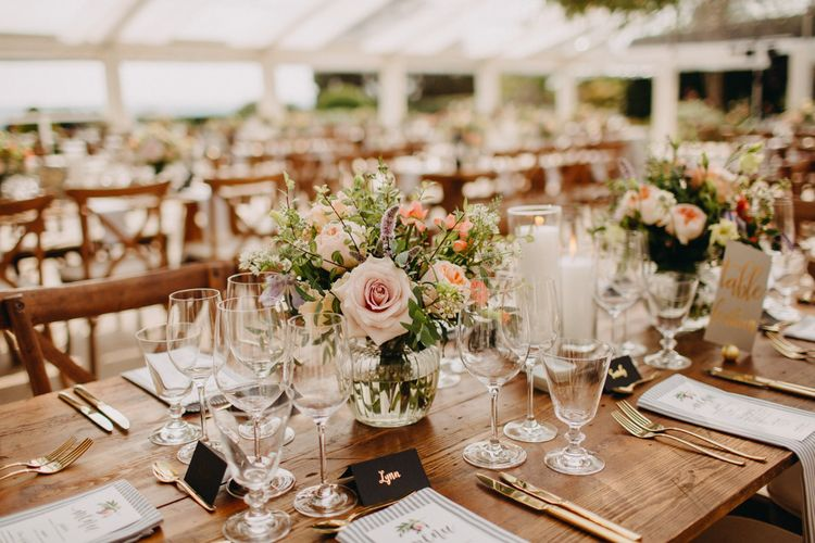 Flowers from Topiary Tree | Hand Stitched Linen Napkins | Bride in Karen Willis Holmes | Groom in Custom Made Suit by Suit Supply | Summer Wedding at Family Home in Kent | Glass Marquee from Academy Marquees | Frances Sales Photography