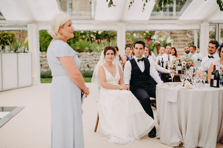 Speeches | Flowers from Topiary Tree | Bride in Karen Willis Holmes | Groom in Custom Made Suit by Suit Supply | Summer Wedding at Family Home in Kent | Glass Marquee from Academy Marquees | Frances Sales Photography