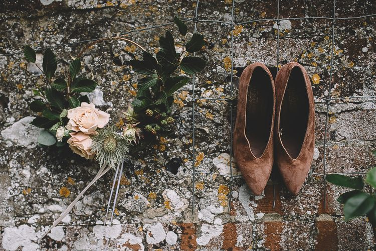 Brown Suede Wedding Shoes and Flower Crown