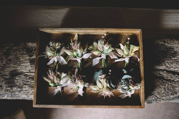 Wooden Box of Buttonholes