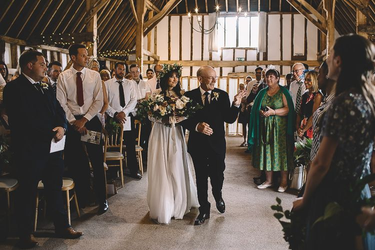 Barn Wedding Ceremony Bridal Entrance in Long Sleeve Lace  Wear Your Love Wedding Dress and Flower Crown
